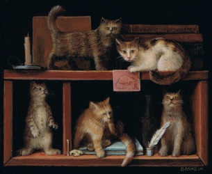 Miniature painting with cats on a bookshelf