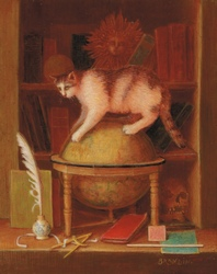 Still life with books and a cat standing on a world map