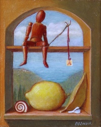 miniature with wooden dummy, lemon fruit and a snail