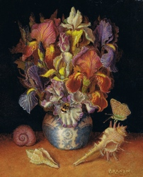 Miniature painting: still life with a bouquet of iris flowers and seashells