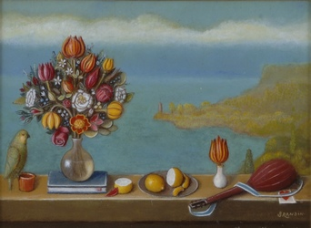 Sea landscape with bouquet, parrot, citrus, tulip and a lute