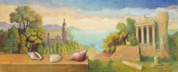 An imaginary landscape including Menton and La Turbie