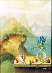 Landscape painting with murex shell and flowers vase
