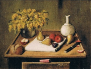 Still life with a bouquet of mimosas and pears