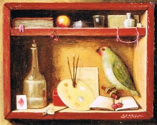 Box with parrot and painter's tools