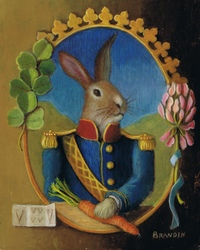 Portrait of a military rabbit and a carrot