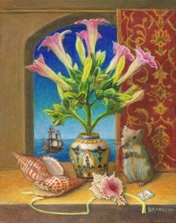 Still life with tobacco flowers in a vase, sea shells and a mouse